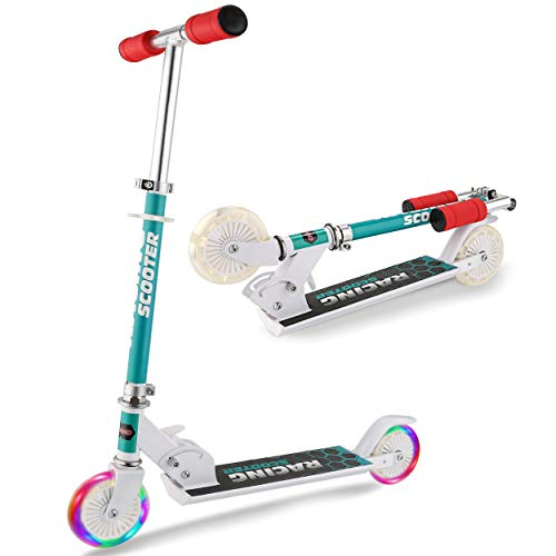 WeSkate Kids Scooter 2 Wheels for Girls Boys 5 and Up, Smooth-Gliding, Adjustable Height Folding Kick Scooters with LED Light Up PU Wheels