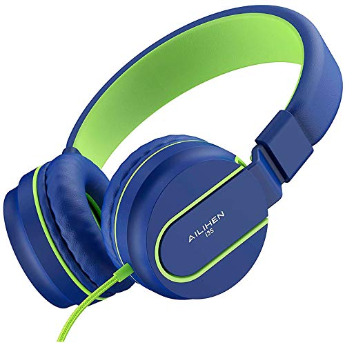 AILIHEN I35 Kid Headphones with Microphone Volume Limited 85dB Children Girls Boys Teen Lightweight Foldable Wired Headset for School Online Course Chromebook Cellphones Tablets (Blue Green)