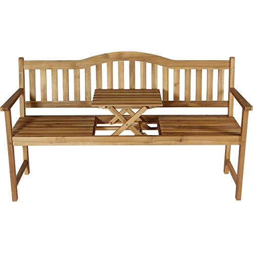 Euromate GmbH Gartenbank Hartfield 2-Sitzer mit Tisch FSC® 89 cm x 140 cm x 58 cm | Rustikale Sitzbank für Garten, Terrasse oder Balkon | Robust, pflegeleicht und witterungsbeständig