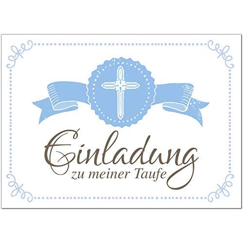 15 x Einladung zur Taufe/Einladungskarten mit Umschlag im Set/Motiv: Vintage Schicht Blau/Baby Taufkarte/Grußkarte/Postkarte /