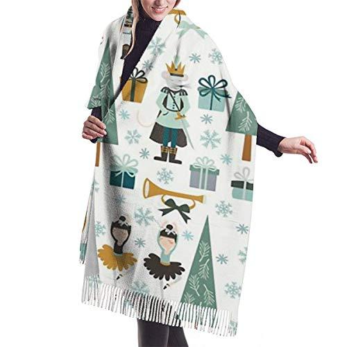 Manta, tapicería, Accesorios de Vestidos, Bufanda con Flecos, Cascanueces, Bufandas cálidas Grandes y largas, Estola de mantón de Pashmina