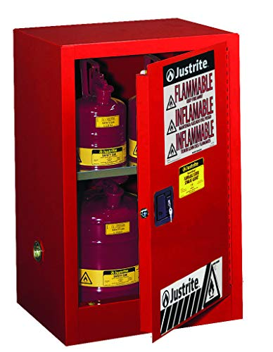 Justrite 891201 Sure-Grip EX Galvanized Steel 1 Door Manual Flammable Compac Safety Storage Cabinet, 12 Gallon Capacity, 23-1/4