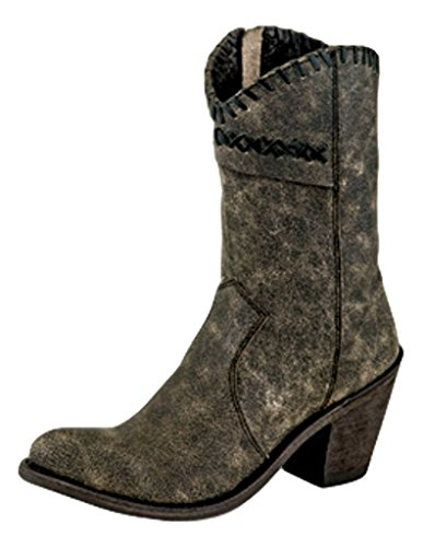 Old West Women's Distressed Charcoal Cross Stitch Cowgirl Boot Round Toe Charcoal 9.5 M