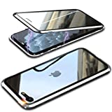 Funda Cristal Templado para iPhone SE 2020/iPhone 8/7 [Vidrio de Doble Cara][Adsorción magnética][Marco de metal][Resistente Arañazos] 360 Protección Funda para Apple iPhone SE Transparente,Plata