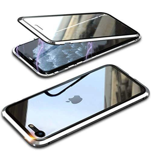 Hülle für Apple iPhone SE 2020/iPhone 8/7 Hülle,Magnetische Metallrahmen 360 Grad Full Body Handyhülle Vorne hinten Gehärtetes Glas Schutzhülle Einteiliges Ultra Dünn Flip Transparente Cover,Silber