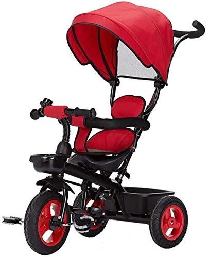Poppenwagen kinderen trikes tricycle wandeltochten kleine kinderen fiets kleine kinderen driewieler kinderwagen trike cabrio verstelbare zitting met baldakijn duwstang instelbare hoogte push-rits babyartikelen