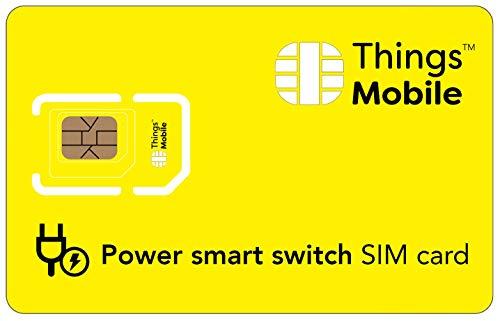 Tarjeta SIM para ENCHUFE INTELIGENTE - Things Mobile - con cobertura global y red multioperador GSM/2G/3G/4G, sin costes fijos, sin vencimiento y con tarifas competitivas. 10 € de crédito incluido
