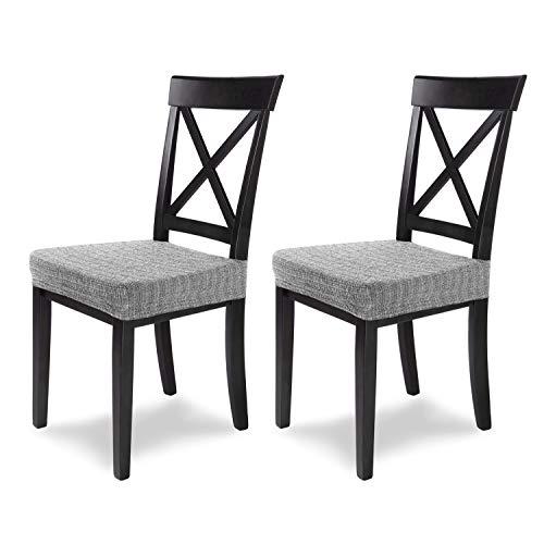 SCHEFFLER-Home Anna 2 Fundas para Asiento de sillas, Estirable Cubiertas, extraíble Funda con Banda elástica, Gris