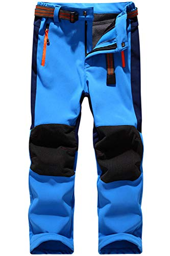 BenBoy Kinder Wanderhose Wasserdicht Softshellhose Winter Gefüttert Thermohose Jungen Mädchen Skihose Trekkinghose Outdoorhose,KZ0018-Lightblue-XL