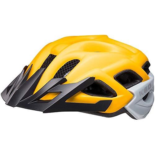 KED Status Jr. S Yellow Black matt - 49-54 cm - inkl. RennMaxe Sicherheitsband - Fahrradhelm Skaterhelm MTB BMX Erwachsene Jugendliche