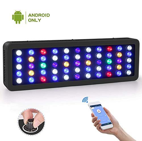 Roleadro LED Acuario Marino 165W 2.4G wifi Remoto y Manual Pantalla LED Acuario Tamaño Grande Iluminacion LED para Acuarios con Luz Blanca,Azul,Luna Azul,0%-100% Brill(Solo para Android)