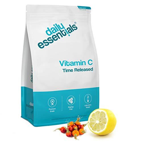 Vitamin C mit 1000 mg je Tagesdosis - 500 Tabletten - Time Released - Mit Hagebuttenextrakt + Citrus-Bioflavonoiden - Laborgeprüft, hochdosiert, vegan und hergestellt in Deutschland