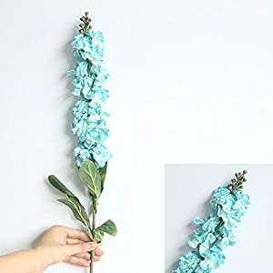 2Krmstr 10 Sticks Artificial Delphinium Flowers, Simulation Flowers with Full Blooming Silk Flowers, Wedding Home Decor Perfect for Decorating Party, Garden etc