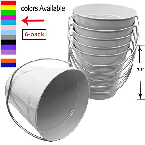 Italia Metal Bucket 3.7 Quart color White Size 7.5 x 7.5' 6-Pack