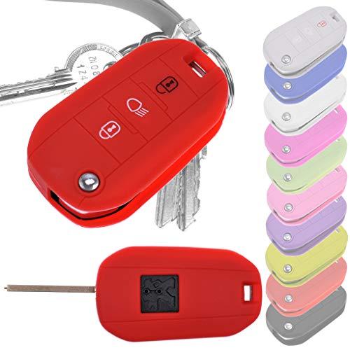 Soft Case Schutz Hülle Auto Schlüssel für Peugeot 208 308 5008 2008 Expert Citroen C3 C4 Spacetourer Klappschlüssel/Farbe: Rot