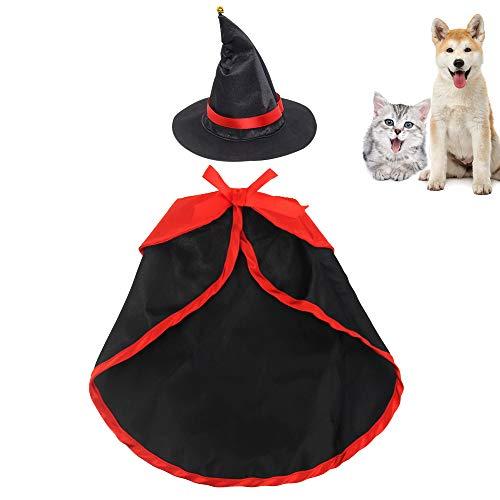 Gobesty Halloween Hundekostüm, Halloween Haustier Kostüm Katzenkostüm mit Umhang und Hut, Katzen Halloween Kostüm Festival-Dekoration Katzenanzug Katzen Kostüm, Schwarz