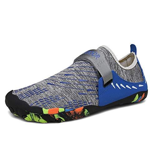 MOMIN Zapatos de Deportes de Agua para Hombre para Mujer Playa Zapatos al Aire Libre Piscina de vadeo de Buceo Zapatos de los Hombres Zapatos de Agua de Surf (Color : Blue, Size : 46)