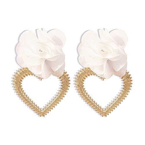 Moares - Orecchini da donna, 1 paio di orecchini da donna in tessuto con fiore a forma di cuore, eleganti e pendenti con perle sintetiche, per uso quotidiano, colore: bianco