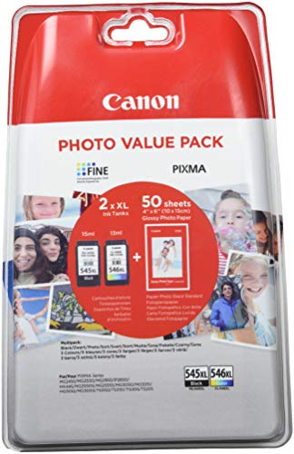 Canon PG-545XL+CL-546XL Cartucho de tinta original Negro XL y Tricolor XL para Impresora de Inyeccion de tinta Pixma...