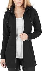 Urban Classics Damen Sweatjacke Ladies Sweat Parka, lange Kapuzenjacke im Stil eines Zip Hoodie - Farbe schwarz, Größe L