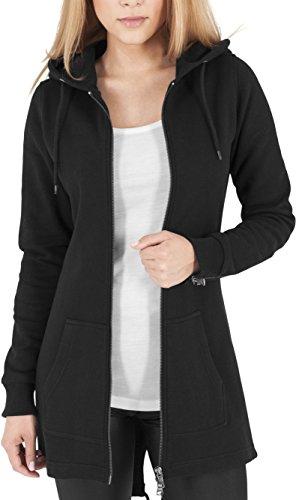 Urban Classics Damen Sweatjacke Ladies Sweat Parka, lange Kapuzenjacke im Stil eines Zip Hoodie - Farbe schwarz, Größe M