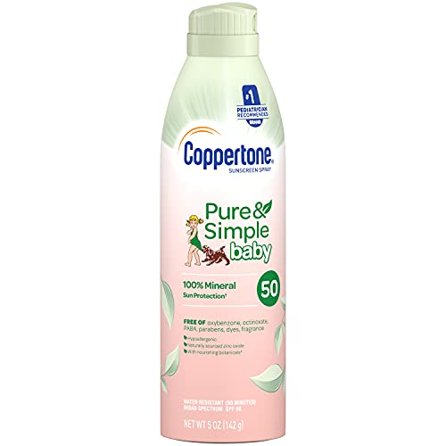 Coppertone Pure Simple Baby Mineral Spf 50 Spray Sunscreen Zinc Oxide Mineral Sunscreen Hypoallergenic Uva Uvb Protection, pink, 5 Ounce