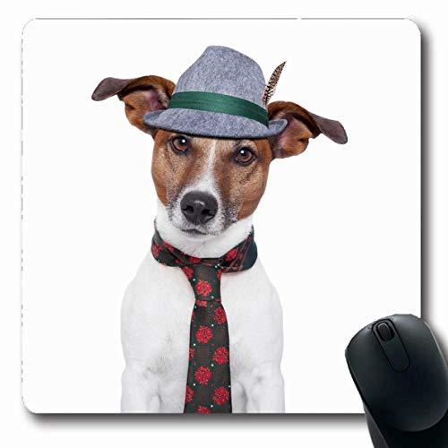 Mausepad Lustiger Oktoberfest Hund Traditionelle Krawatte Hut Tiere Wildtiere Feiertage Haustier Kostüm Bierfest Bayerische Gummi Mousepad Oblong Langlebige 25X30Cm Arbeit Mausmat