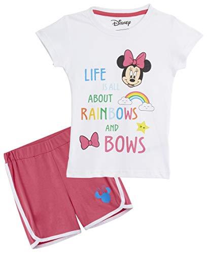 Disney Minnie Mouse Pijama Niña, Ropa Niña 100% Algodón, Conjunto Pijamas Verano Cortos 2 Piezas, Pijama Rosa para Dormir o Vacaciones, Regalos para Niñas Edad 3-7 Años
