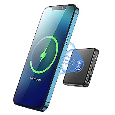 Magnetic Wireless Charger Power Bank, Magnetic Portable Charger 5000mAh USB C Back up Power Supply, Suitable for iPhone 12/12 Mini/Pro/Max (Black) from Shenzhen Meihao Industrial Co., Ltd.
