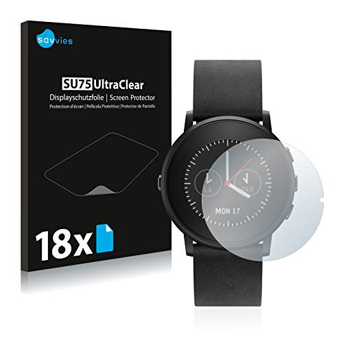 Savvies 18x Schutzfolie kompatibel mit Pebble Time Ro& Bildschirmschutz-Folie Ultra-transparent