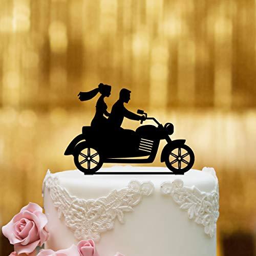 Dankeskarte.com Cake Topper Motorrad - für die Hochzeitstorte - Acrylglas Schwarz - XL - Tortenaufsatz, Kuchen, Deko, Tortenstecker, Tortenfigur, Hochzeit, Kuchanaufsatz, Kuchendeko, Mr Mrs