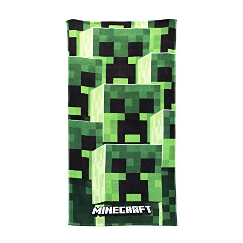 Minecraft Strandtuch/Fleece-Decke – Creeper/Goodguys Designs, baumwolle, grau, 140 x 70cm