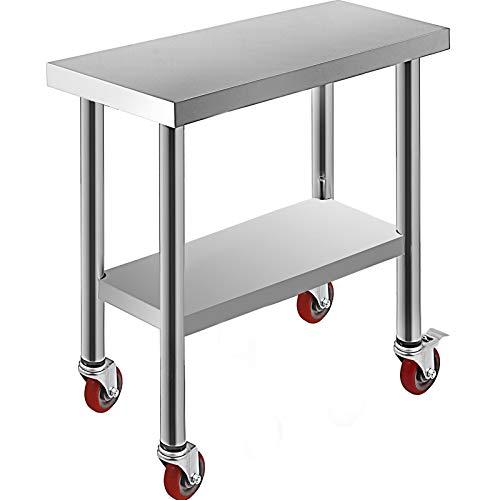 VEVOR Tavolo da Lavoro in Acciaio Inox Piano di Lavoro per Cucina 76x30x86cm Piano di Lavoro Professionale a 4 Ruote per La Preparazione di Alimenti