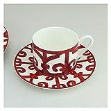 LCBYOG Tazas De Cafe,Juego Tazas De Cafe Placa Restaurante de la Carne del Plato de cerámica Taza de café del platillo Adornos Decorativos Tazas y platillos de té (Color : Cup and Saucer)