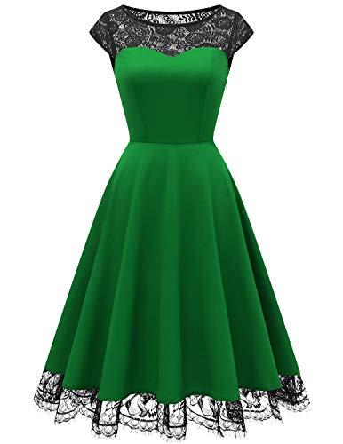 HomRain HomRain Damen 1950er Vintage Rockabilly Swing Kleid Spitze Cocktail Ball Party Kleid Abendkleid Green S