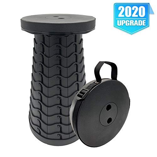 FIEMACH Tragbarer Klapphocker, Zweiten Generation Mini Teleskophocker Leichte Campinghocker für Outdoor Camping Angeln BBQ Drinnen Küche, Belastung 397 lb (2020 Upgrade)