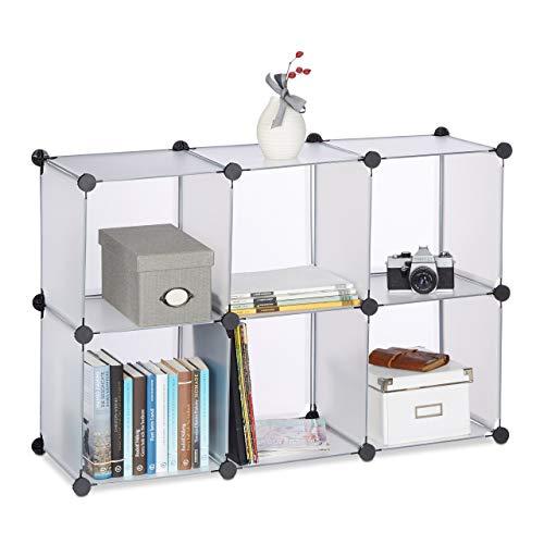 Relaxdays Regalsystem mit 6 Fächern, Standregal offen, Steckregal aus Kunststoff, HxBxT: ca 65 x 96 x 32 cm, transparent
