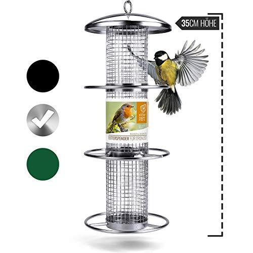 wild dier hart   notenvoeding dispenser 38 cm - voor vogels met roestvrij stalen rooster & aanvliegringen, voederzuil voor vogelvoer, voederstation voor het hele jaar door voer van wilde vogels, zilver