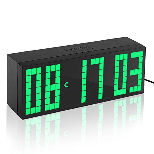 Yosoo Reloj Grande LED Alarma Tiempo Relojes Digital Cuenta Atrás Adelante Reloj con Controlador Remoto (Verde)