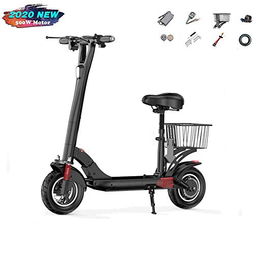 "ZYLFN Electric Scooter, Folding E Scooter for Adult, 500W Motor, 3 Speed Modes Up to 28Mph, LCD Display, Maximum Load 330Lbs,10"" Off-Road Tyre, Dual Brake, Front LED Light Warning Taillight"