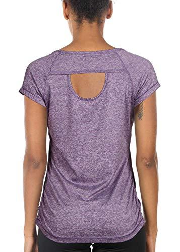 icyzone Camiseta de Fitness Deportiva de Manga Corta de Espalda Abierta para Mujer (S, Lavanda)