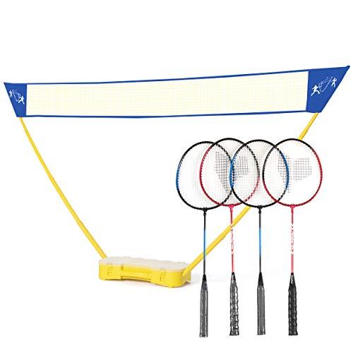 DREAMADE Tragbares Badminton Set, Badmintonschläger mit Höhenverstellbarem Badmintonnetz mit Ständer inkl. Federbälle und Tragekoffer, Tennisnetz Volleyballnetz mit Teleskopstange für drinnen außen