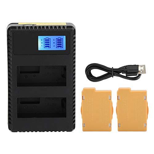 Batería de la cámara: para CANON LP-E8 2 baterías + pantalla LCD Cargador doble con cable de carga USB integrado