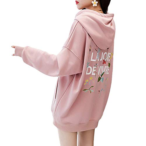 OSYARD Damen Hoodie Langarm Pullover Kapuzenpulli Outwear Kapuzenjacke Sweatshirt Herbst Winter Casual Sport Jacken mit Back Drucken