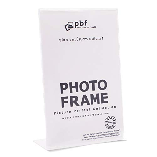 Photo Booth Frames - 5x7 Inch Clear Acrylic Display, Slanted Back Vertical Standing Plastic Picture or Display Sign Holder with Inserts - 12 Count