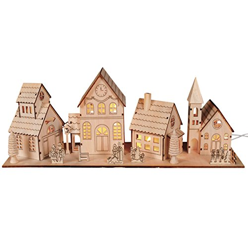OBC-Kunsthandwerk Holz-Häuser mit elektr. Beleuchtung, 4 Stück auf Einer Platte, 48cm, Natur, gelasert