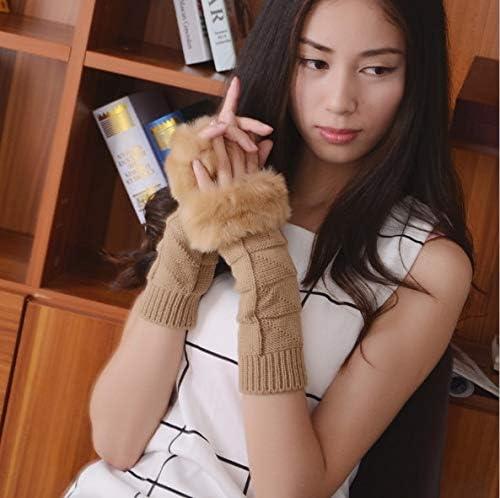 1Pair Fashion Women Faux Rabbit Fur Hand Wrist Crochet Knitted Fingerless Warmer Gloves Knitting Mittens Winter Autumn Warmer - (Color: B)