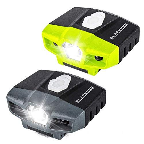 BLACKUBE 2個セット(black&green) 充電式 キャップライト 帽子ライトクリップ モーションセンサー 明るい 29時間点灯 釣りライト (黒と緑)
