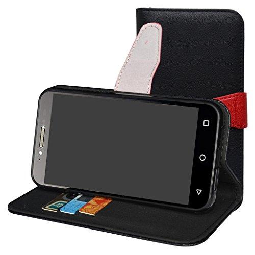 Alcatel Shine Lite Hülle,Mama Mouth Brieftasche Schutzhülle Case Hülle mit Kartenfächer & Standfunktion für Alcatel SHINE lite 5080X-2HALWE7 5080X-2DALWE7 5080X-2GALWE7 Smartphone,Schwarz