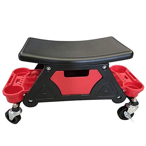 Bandeja de almacenamiento para silla Creeper Seat Roller, Creeper Seat Tool Box con almacenamiento, garaje Rolling Toolbox Creeper con ruedas para herramientas durante el garaje
